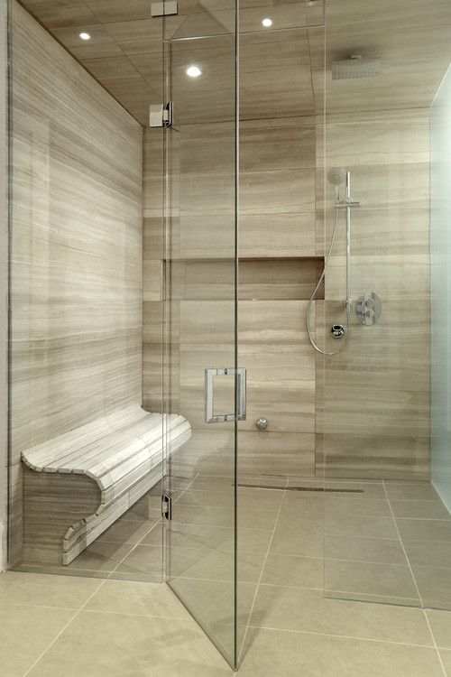 Contemporary Bathroom Tiled Shower Floor with Hot Mop